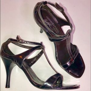 Donald Pliner Gun Metal Steel Gray Heeled Sandal 7